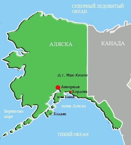 Аляска - карта